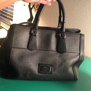 Guess Monogrammed Black & Grey Handbag.